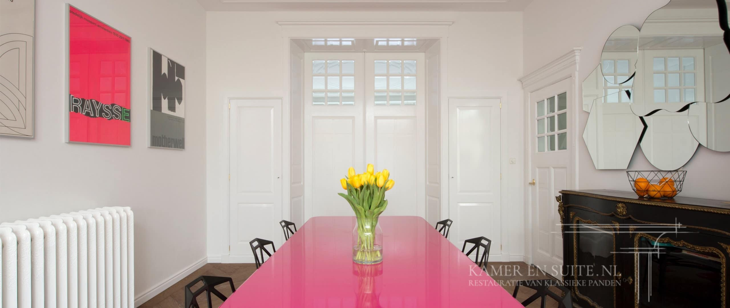 Klassieke kamer en suite kast met een modern inrichting combinatie klassiek en modern