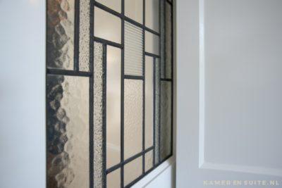 glas in lood en suite deur met divers structuurglas